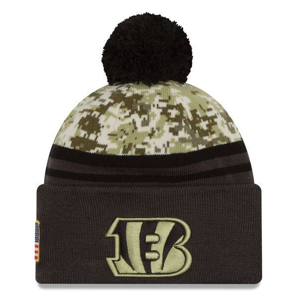 2016 NFL New Era Cincinnati Bengals Camo/Graphite Salute To Service Knit hat #NewEra #CincinnatiBengals