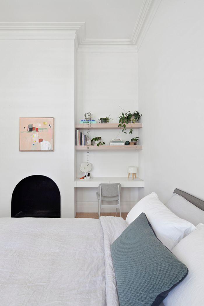 Built-in desk in bedroom nook