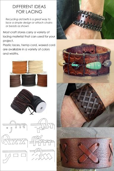 http://www.diaryofacreativefanatic.com/2015/04/diy-restyle-leather-into-cuffs-and-bracelets.html More