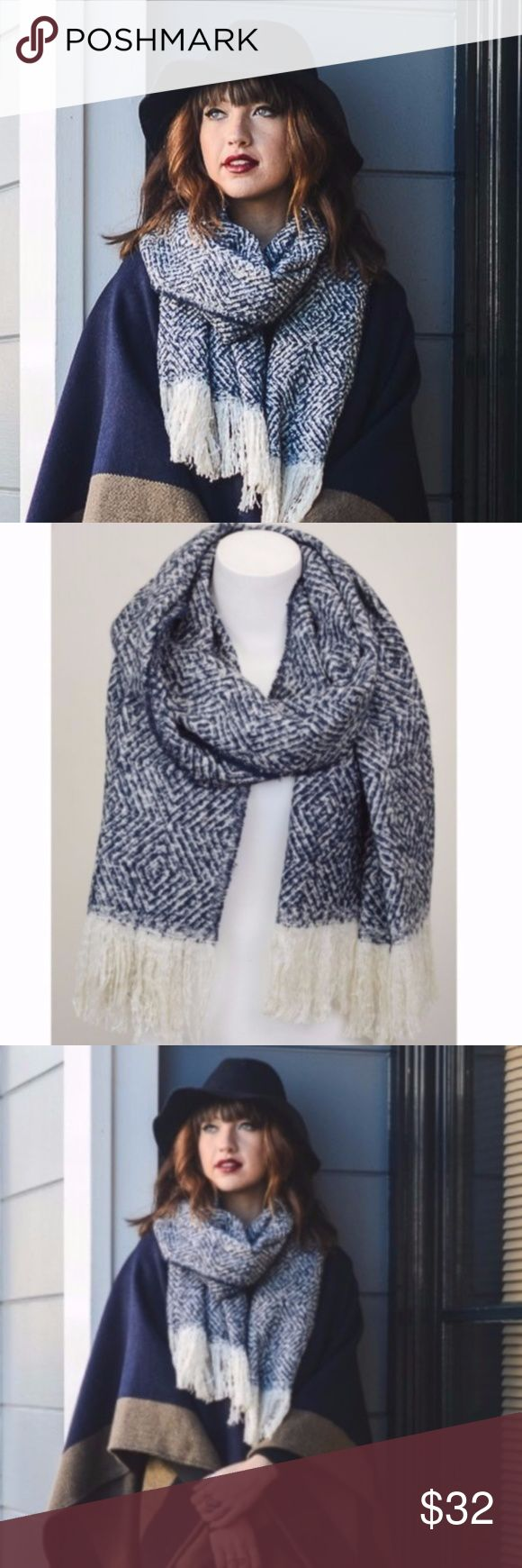 "Navy Blue Tassel Scarf Diamond print navy blue scarf with ivory tassle trim. Price firm unless bundled. No trades.  100% Acrylic Dimension 76""x23"" Accessories Scarves & Wraps"