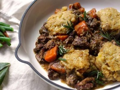 Slow Cooker Beef and Wine Stew with Cheesy Dumplings recipe