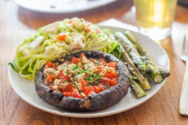 Grilled Portobellos with Pesto, Tomatoes & Feta