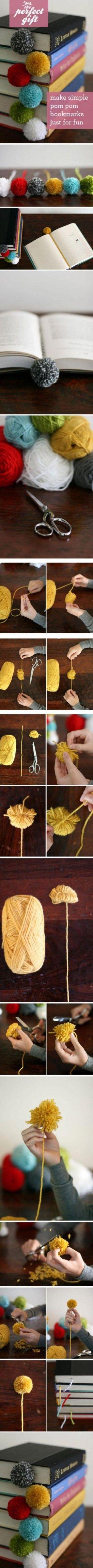 Pom Pom bookmark craft