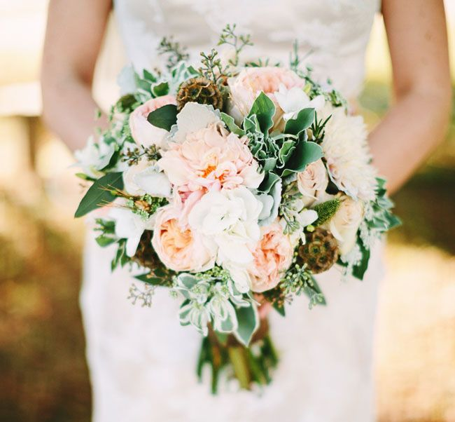 pink farm-inspired bouquet of roses and eucalyptus