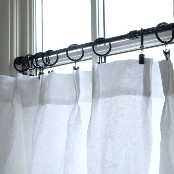 Linen Cafe Curtains Plain Washed White Linen Pinch Pleat Or