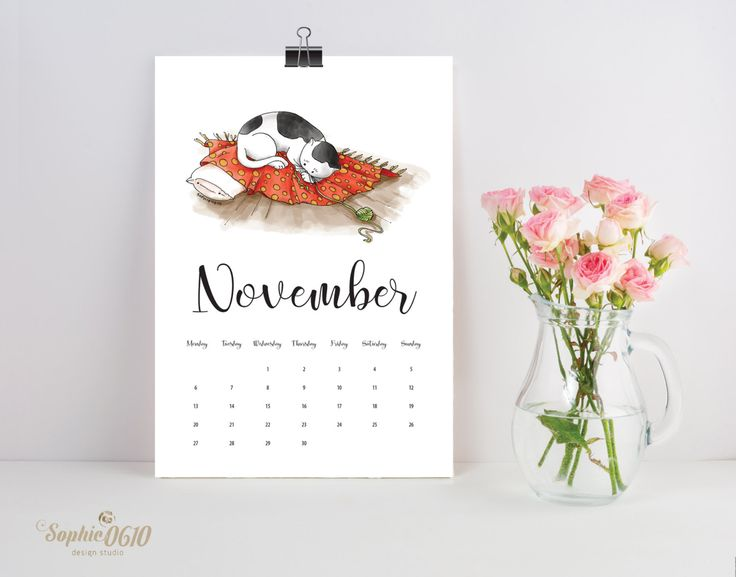 Printed Wall Calendar 2017 for cat lovers, A4 year calendar, desk calendar, one month calendar, Printed calendar English and Greek version by Sophie0610Designs on Etsy