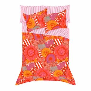Unconventional blossoms burst from red outlines in warm hues of pink and orange along with cool tones of aqua and purple for a stimulating scene on this sunny set. Marimekko Siirtolapuutarha Red Percale Bedding - $140-250