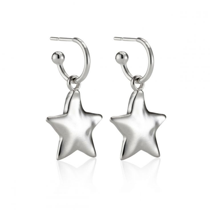 beaded hoop earrings small hoop earrings star gift for her silver star earrings Silver Star Hoops charm hoop earrings