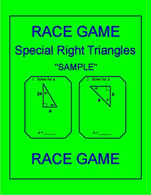 Special Right Triangle - RELAY RACE Game (Sample - 1 page) from Math Resources and Activities on TeachersNotebook.com - (3 pages) - Special Right Triangles, Game, RELAY RACE, Cooperative Learning, Activity
