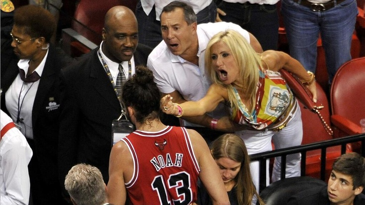 Most Miami lady ever flips off Joakim Noah.