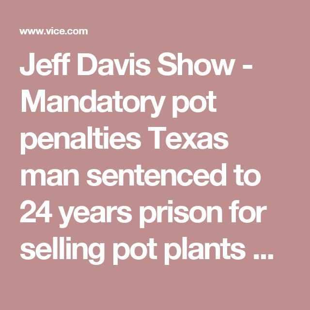 "Jeff Davis Show  -  Mandatory pot penalties Texas man sentenced to 24 years prison for selling pot plants Mandatory pot penalties back  Trump job plan  - More ""drug war"" cops More private prisons  Jeff Davis Show Media"