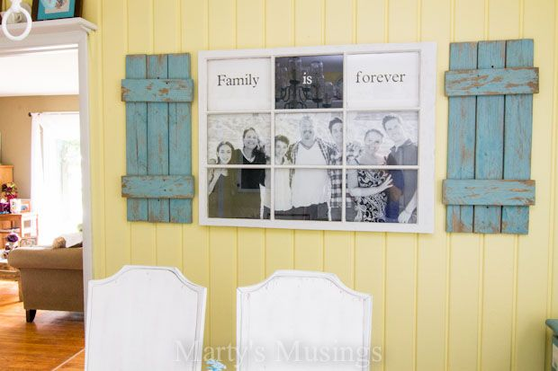 Photo Frame made with fence boards and an old window from Marty's Musings