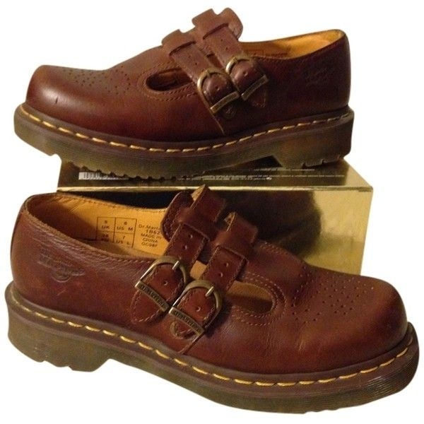 Pre-owned Dr. Martens Brown Flat (€99) ❤ liked on Polyvore featuring shoes, flats, brown, dr martens footwear, wingtip brogues, brogue shoes, brown flat shoes and oxford shoes