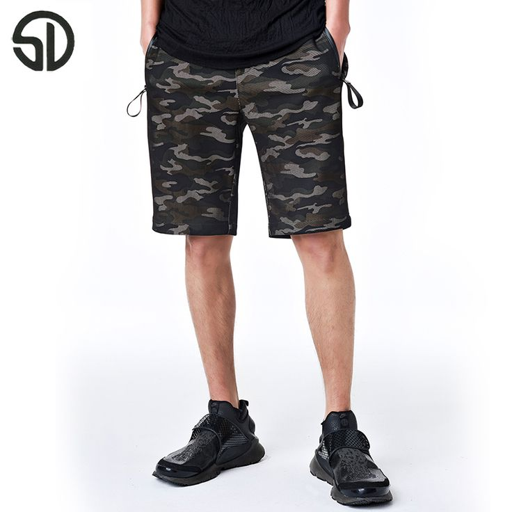 Woodvoice 2017 Summer Brand Clothing Men's Shorts Camouflage Blue Green Knee Length Shorts Draw Cord Trousers For Male Hot Sales