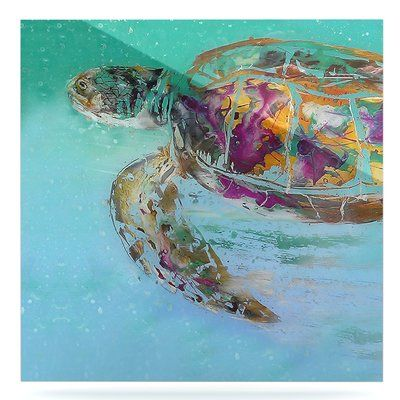 "East Urban Home 'Mommy Turtle' Graphic Art Print on Metal Size: 10"" H x 10"" W x 1"" D"