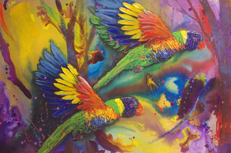 """SOLD """"Birds in flight"""" by Kristy Flynn. Paintings for Sale. Bluethumb - Online Art Gallery"""