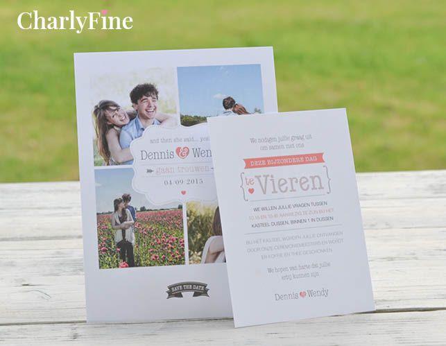 Een persoonlijk trouwkaartje wordt wel heel uniek door gebruik te maken van eigen foto's. www.charlyfine.nl