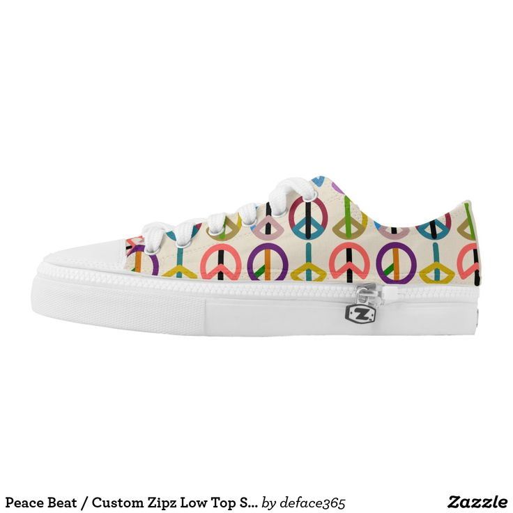 Peace Beat / Custom Zipz Low Top Shoes Printed Shoes