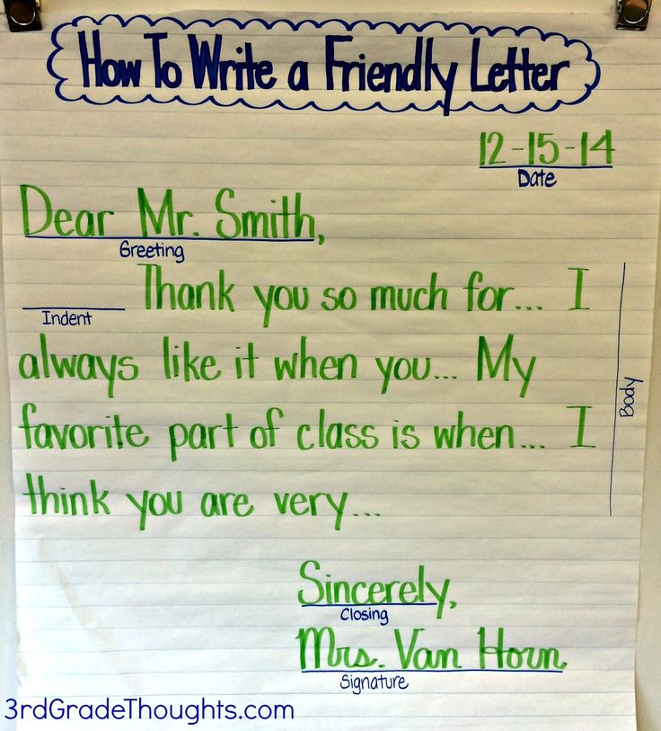 Friendly Letter Writing With RACK Writing Thoughts