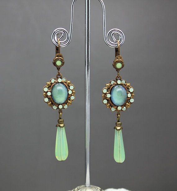 Green opal earrings by AnoniJewellery on Etsy