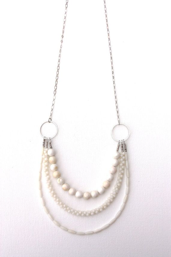 long white gemstone necklace, triple strand, elegant semiprecious stone jewelry