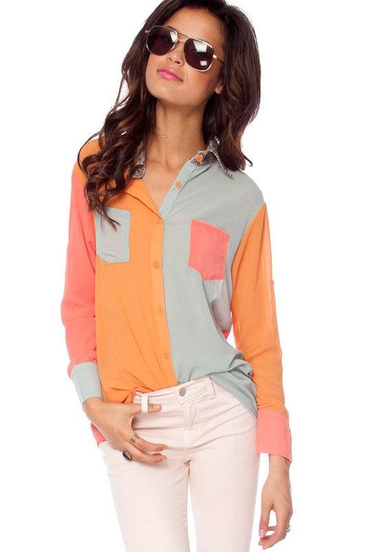 cute!: Blouses, Coral, Fashion, Clothes, Colorblock, Colors, Snakes