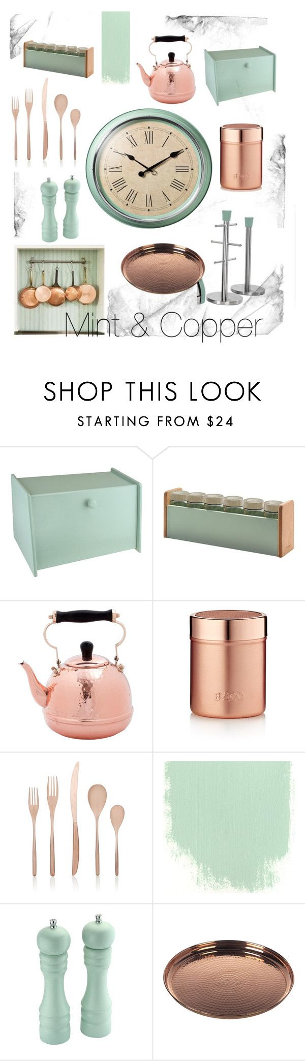 """Mint & Copper Kitchen"" by rosalyn-potts on Polyvore featuring interior, interiors, interior design, home, home decor, interior decorating, Typhoon, Old Dutch, Barista & Co and Sambonet"