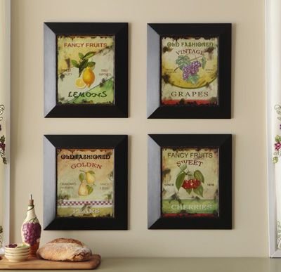Hanging framed fruit design wall art decor our future for Home art design collection