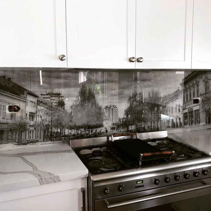 Glass printed kitchen splashback travel photography black and white