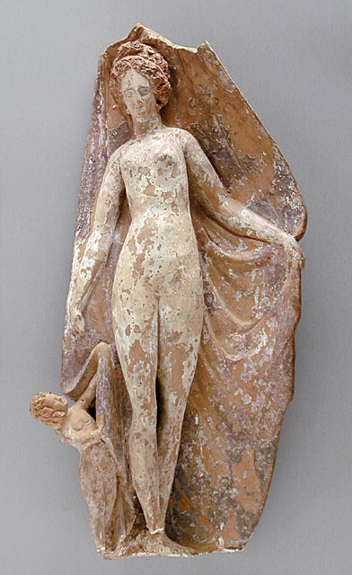 Tanagra Figure of Aphrodite with Two Cupids, 400 B.C. Sculpture; Ceramic, Terracotta, Height: 16 5/8 in. (42.23 cm)