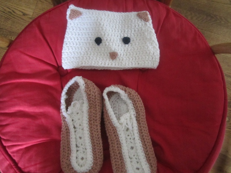 Pretty slippers for mom and kitty hat for baby
