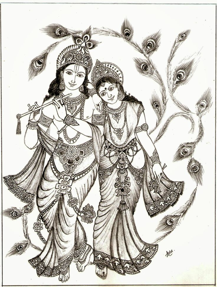 Radha Krishna Picture Drawing | Drawing Images