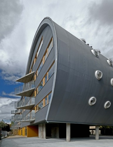 'Triangolo' apartment building's wide end;  in Nitra, Slovakia;  designed by Sebastian Nagy