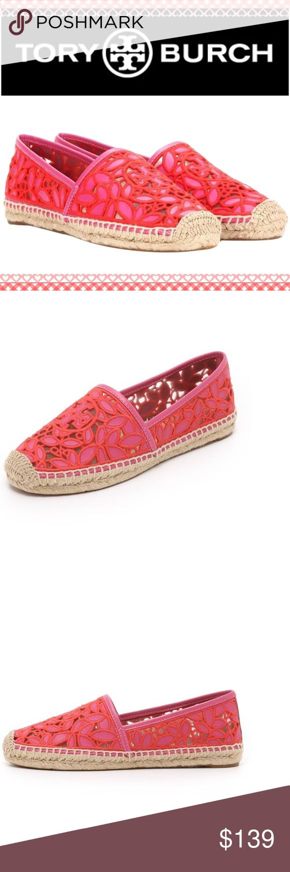 Lace Tory Burch Espadrilles New in box beautiful Red/pink Espadrilles. Make an offer Tory Burch Shoes Espadrilles