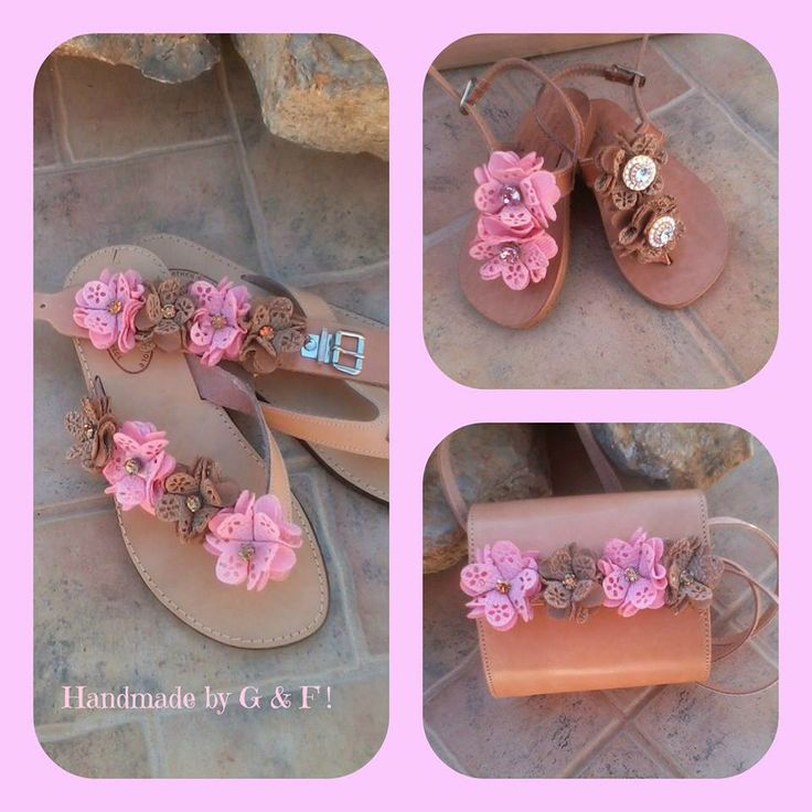 handmade leather sandals and children's bag