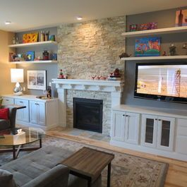 Living Room With Fireplace In Middle 18 best living room shelves images on pinterest | fireplace ideas