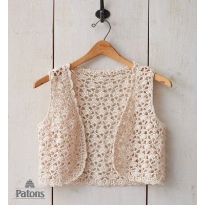 Seashell Vest, free pattern from Paton's.  Intermediate skill level, sizes XS - XLG  . . .  ღTrish W ~ http://www.pinterest.com/trishw/  . . . #crochet