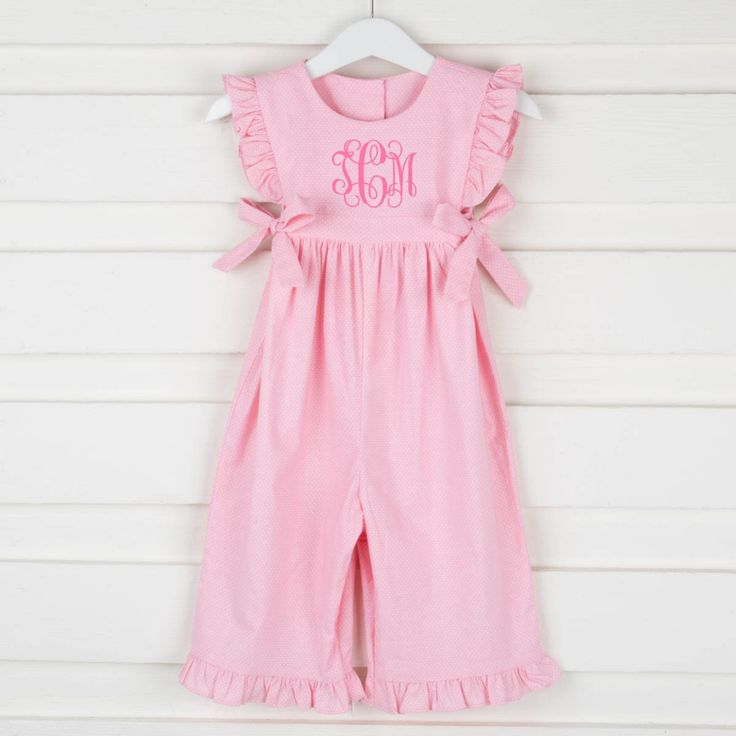 Tiny Polka Dot Savannah Long Romper Light Pink