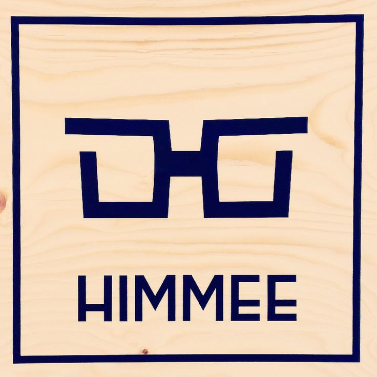Himmee logo sticker on plywood