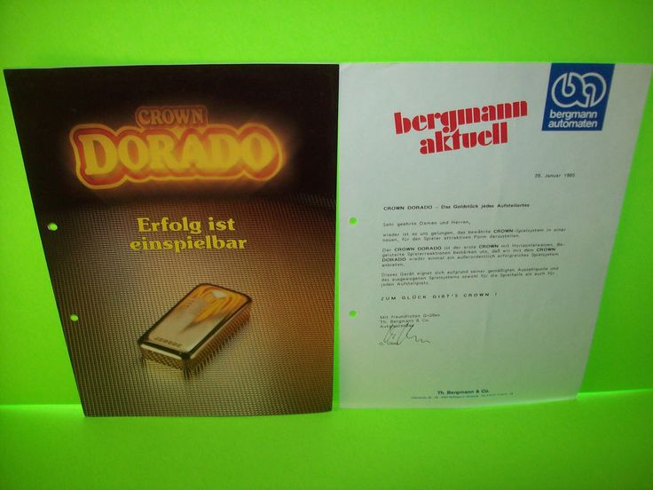 Bergmann Automaten CROWN DORADO Original Slot Machine Flyer + Letterhead German #BergmannAutomaten