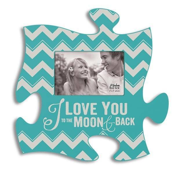 P Graham Dunn Puzzle Piece I LOVE YOU TO THE MOON AND BACK Teal Picture Frame in Home & Garden, Home Décor, Frames | eBay