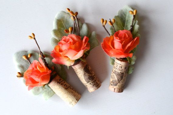 Rustic Boutonniere  Coral Wedding by thebreadandbutterfly on Etsy, $45.00