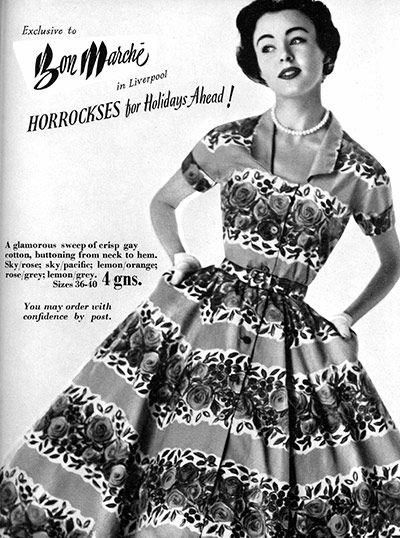 Horrockses designer 40s 50s shirt dress full skirt pattern button front model print ad
