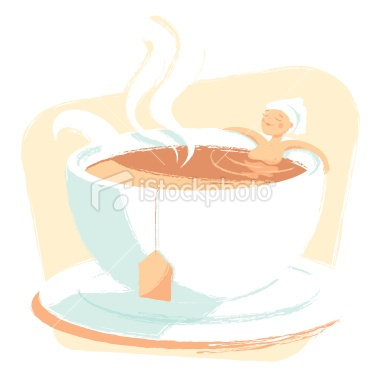 Woman relaxing in a cup of tea Royalty Free Stock Vector Art Illustration
