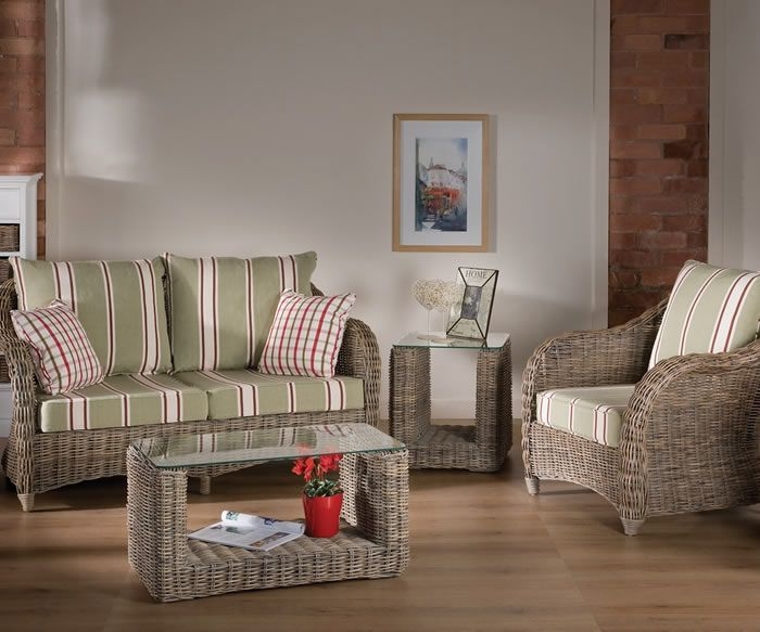 Rattan conservatory furniture in a fashionable sage green stripe fabric. Large plumb back cushions offer extreme comfort! One of our favourites!