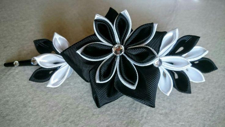 Fermacapelli kanzashi Black&White