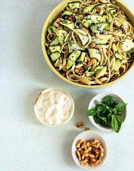 Fettuccine with Walnuts, Zucchini Ribbons, and Pecorino Romano