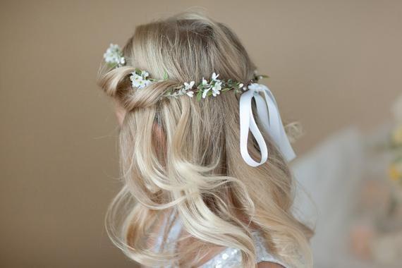corona fiore prima comunione, copricapo prima comunione, corona fiore bianco per ragazza, corona ragazza fiore, fascia santa comunione, alone