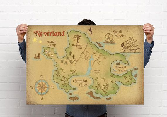 Off to Neverland! Escape from Winter With This Neverland Map Wall Art
