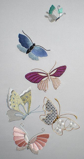 Gorgeous embroidered butterflies.